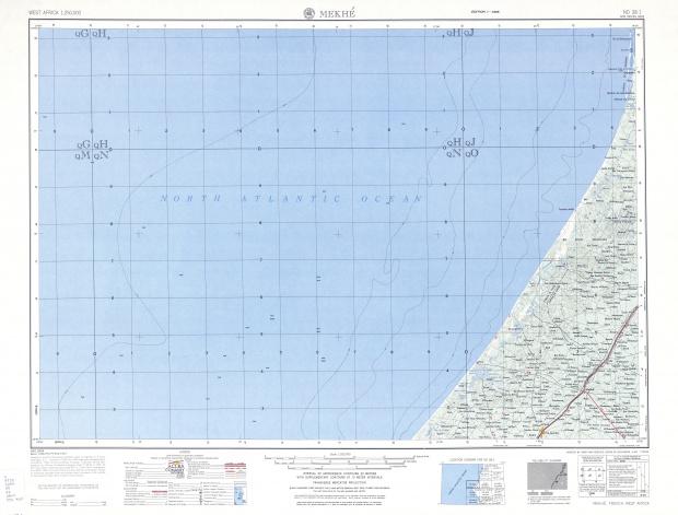 Hoja Mekhe del Mapa Topográfico de África Occidental 1955
