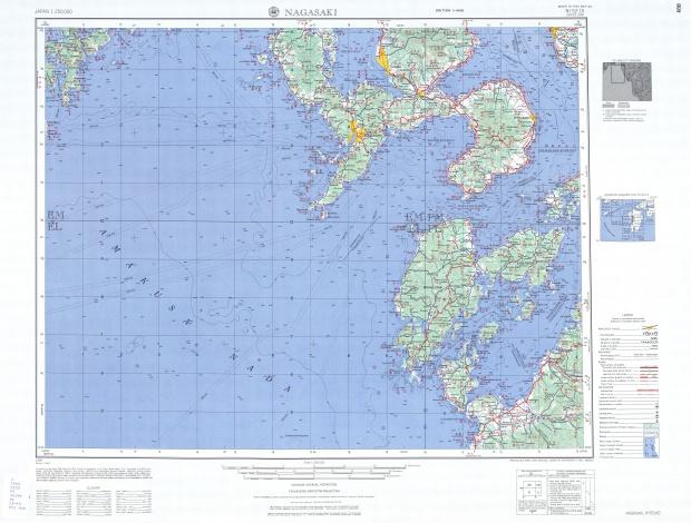 Nagasaki Topographic Map Sheet, Japan 1954