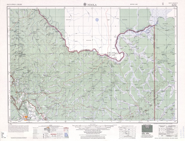 Ndola Topographic Map Sheet, Southern Africa 1954
