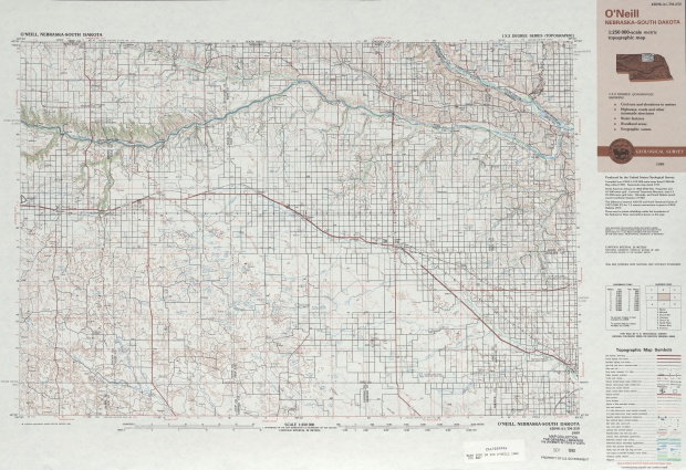 O'neill Topographic Map Sheet, United States 1989