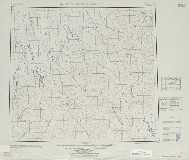 Philip Smith Mountains Topographic Map Sheet, United States 1951