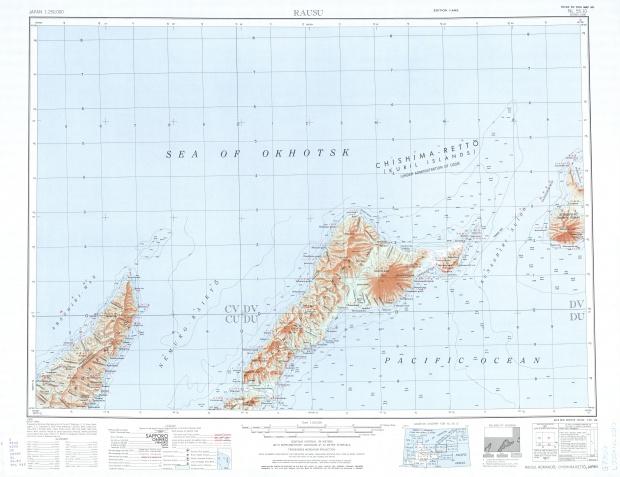 Rausu Topographic Map Sheet, Japan 1954