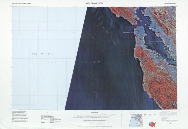 Hoja San Francisco de la Imagen Satelital de los Estados Unidos 1985