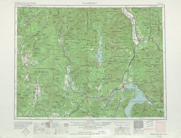 Sandpoint Topographic Map Sheet, United States 1958