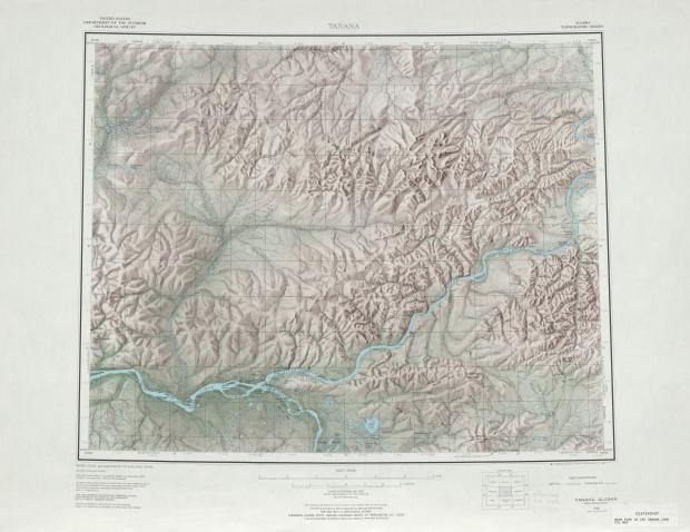Hoja Tanana del Mapa de Relieve Sombreado de los Estados Unidos 1966
