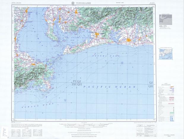 Toyohashi Topographic Map Sheet, Japan 1954