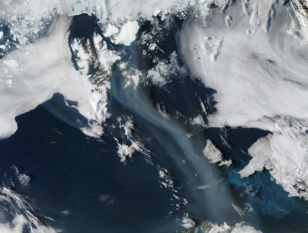 Smoke from Saskatchewan fires (Canada) off Svalbard and Norway