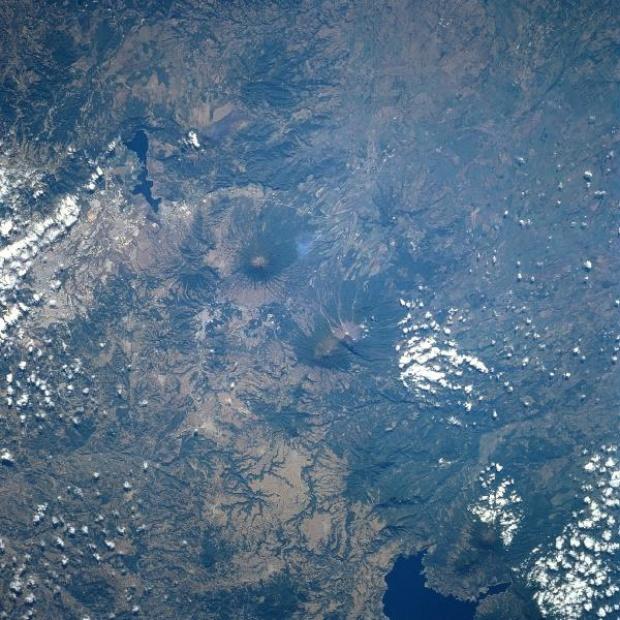 Satellite Image, Photo, Volcanoes Acatenango and Fuego, Guatemala
