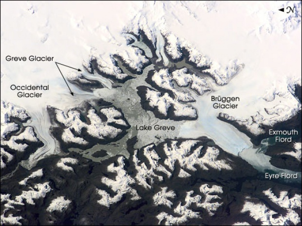 Satellite Image, Photo of Brüggen, Greve, Occidental Glaciers, Lake Greve, Chile