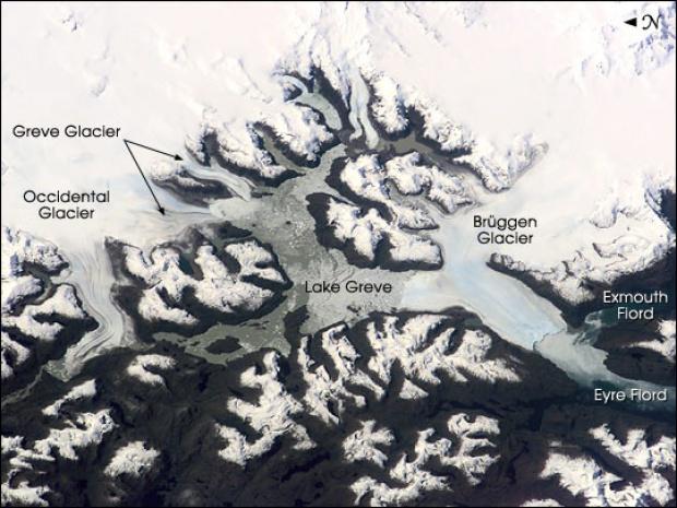 Imagen, Foto Satelite de Brüggen, Greve, Glaciares (Occidente), Lago Greve, Chile