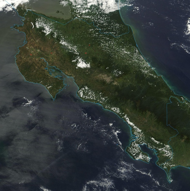 Satellite Image, Photo of Costa Rica