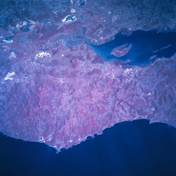 Satellite Image, Photo of Northern Nicoya Peninsula, Costa Rica