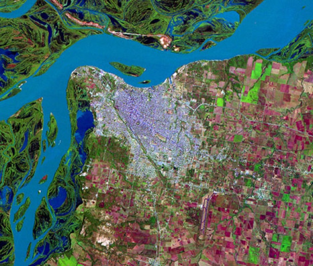 Satellite Image, Photo of Paraná City, Prov. Entre Ríos, Argentina
