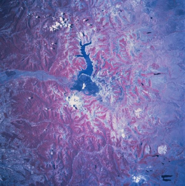 Satellite Image, Photo of Laguna de la La Laja, Chile