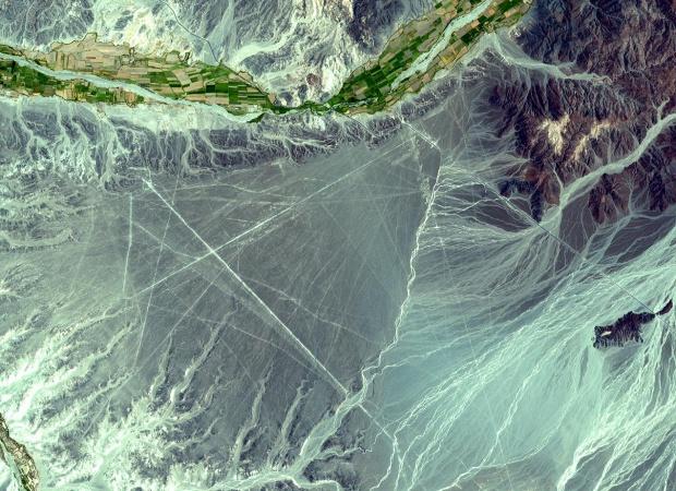 Imagen, Foto Satelite de las Lineas Nazca, Peru