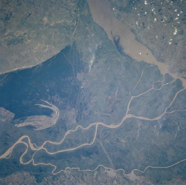 Satellite Image, Photo of Rio Parana Delta, Argentina