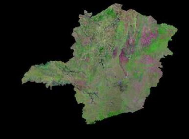 Satellite Image, Photo of Minas Gerais State, Brazil