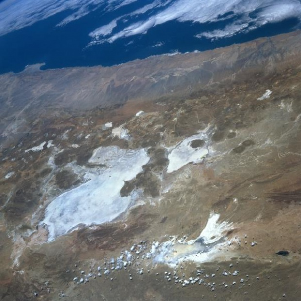 Satellite Image, Photo of Uyuni Salar (Salt Flat), Lake Poopo, Bolivia
