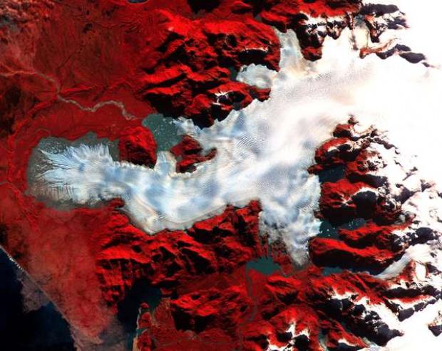 Imagen, Foto Satelite del Norte de la Hoja de Hielo de Patagonia, Chile