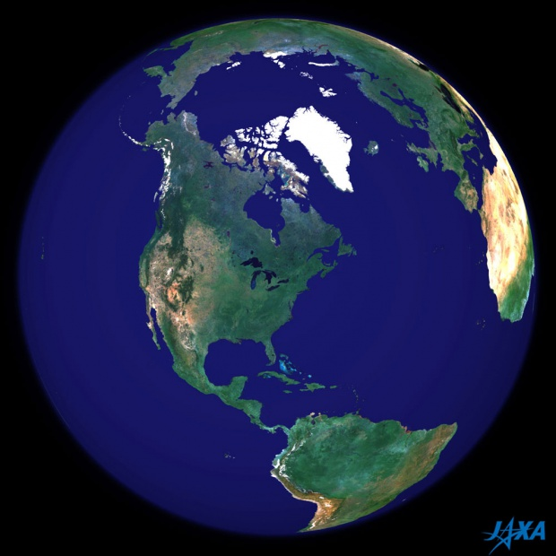 Spherical image of the earth centered in North America