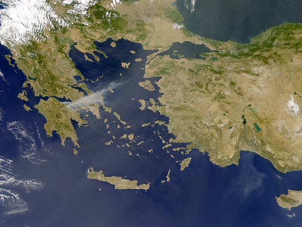 Greek Wildfires from SeaWiFS