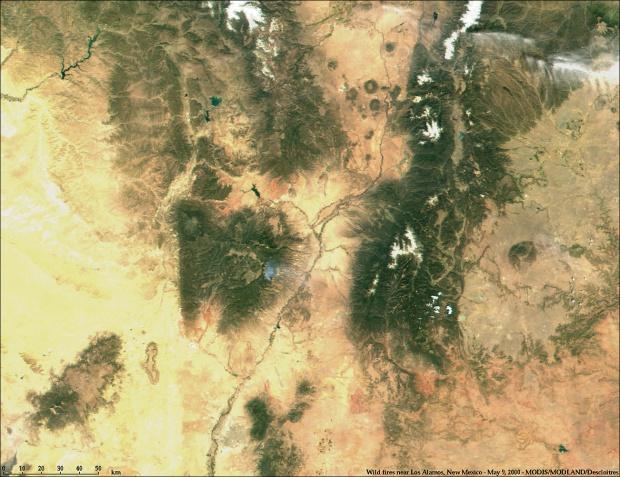 Incendios cerca de Los Alamos, Nuevo México de MODIS