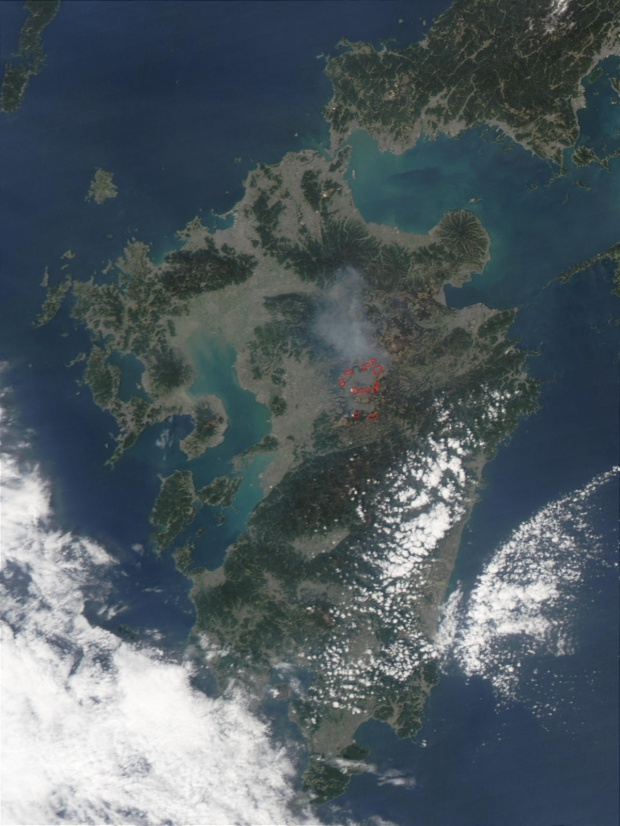 Fires on Kyushu Island, Japan