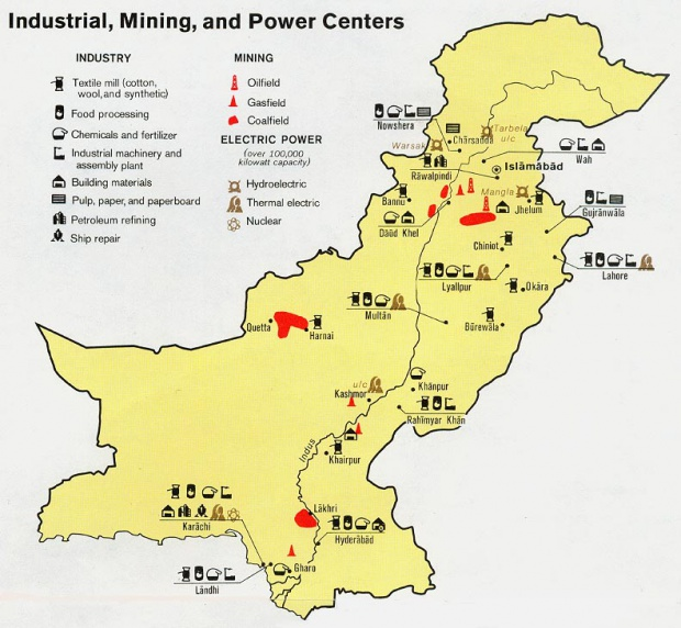 Pakistan Industry, Mining, Power Centers 1973