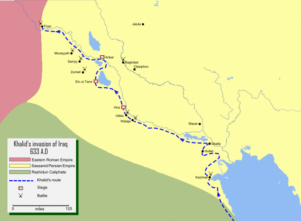 Iraq conquered by Khalid ibn Walid 633