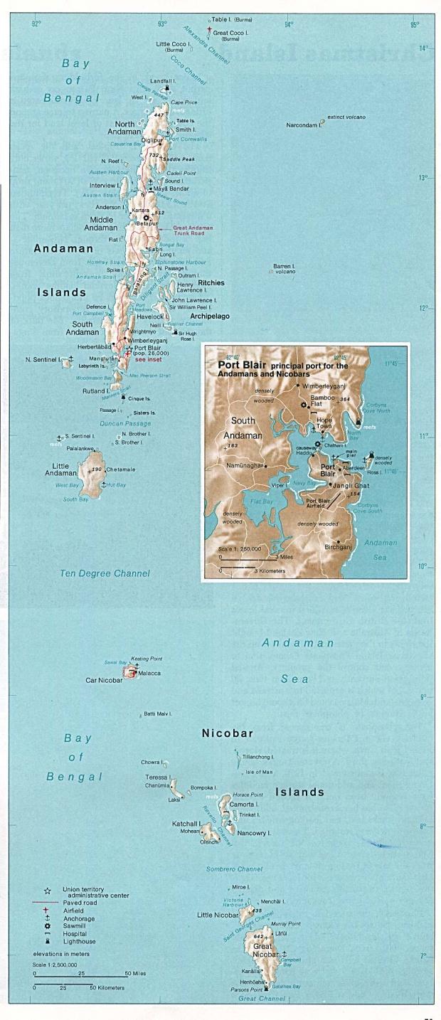 Islas Andamán y Nicobar Mapa (Territorio de la Unión)