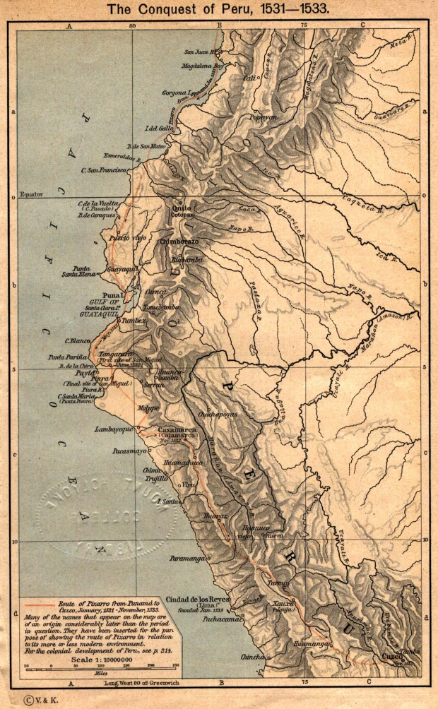 Map of the Conquest of Peru, 1531 - 1533