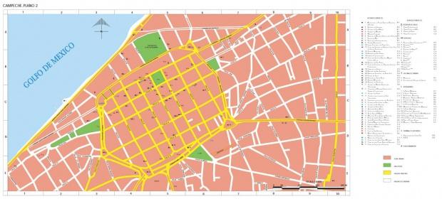 Mapa Campeche, Centro Ciudad, Mexico