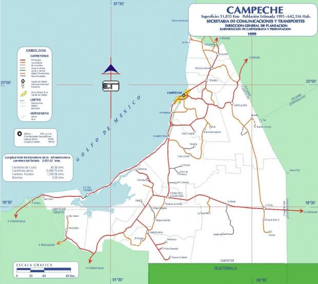 Mapa Campeche, Mexico