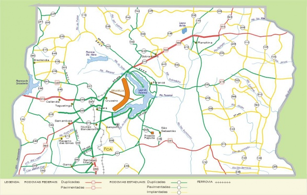 Mapa Carreteras Federales, Brasilia Distrito Federal, Brasil