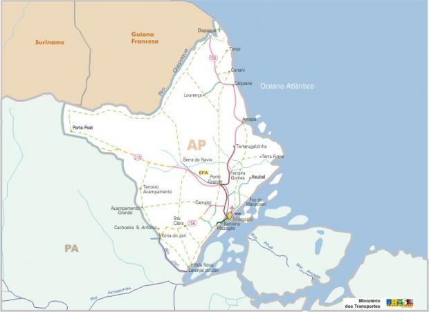 Mapa Carreteras Federales, Edo. de Amapá, Brasil