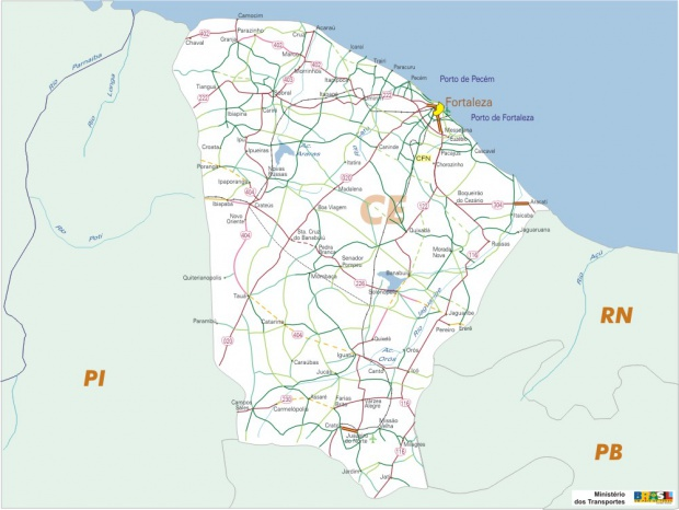 Ceará State, Federal Highway Map, Brazil