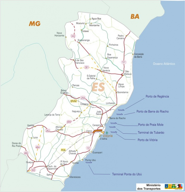 Mapa Carreteras Federales, Edo. de Espírito Santo, Brasil