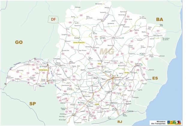 Minas Gerais State, Federal Highway Map, Brazil