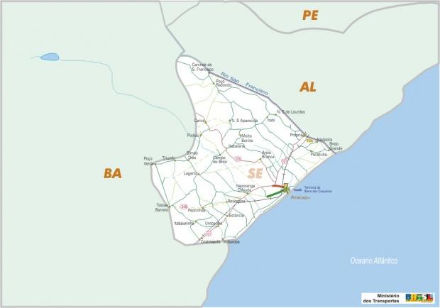 Mapa Carreteras Federales, Edo. de Sergipe, Brasil