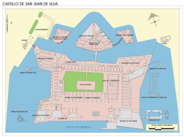 Mapa Castillo de San Juan de Ulúa, Veracruz-Llave, Mexico