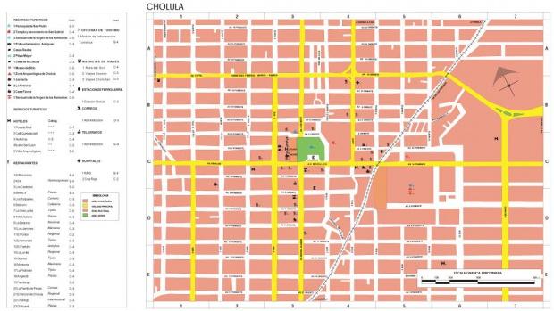 Mapa Cholula, Puebla, Mexico