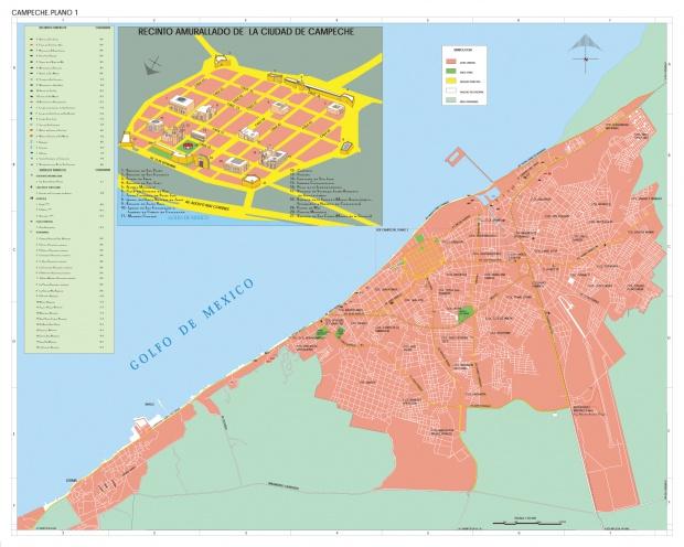 Mapa Ciudad Campeche, Mexico