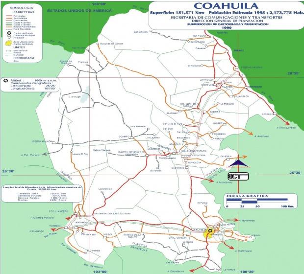 Mapa Coahuila (Estado), Mexico