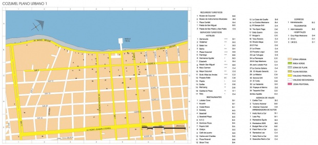 Mapa Cozumel, Quintana Roo, Mexico