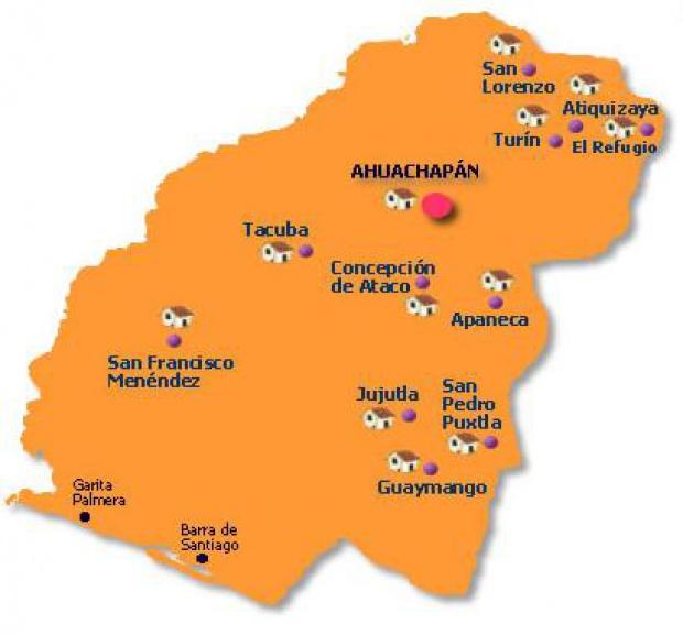 Mapa Departamento Ahuachapán, El Salvador