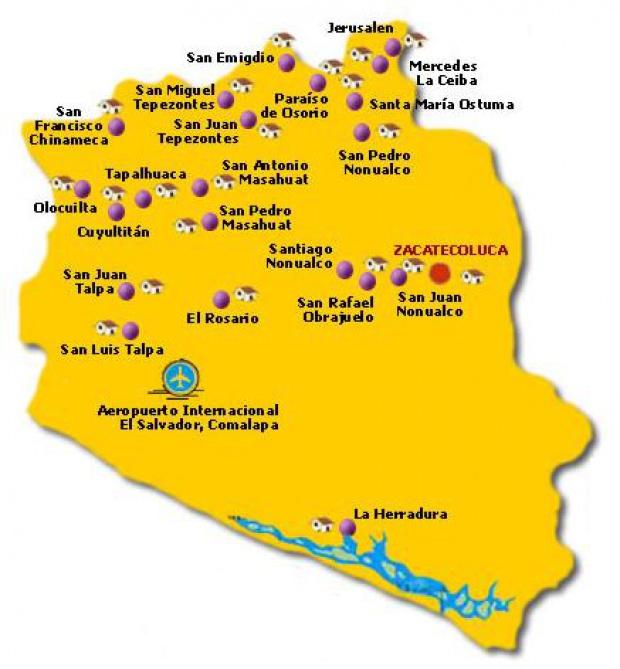 Mapa Departamento La Paz, El Salvador