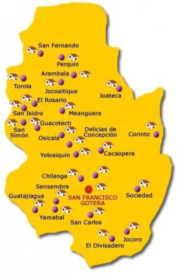 Mapa Departamento Morazán, El Salvador