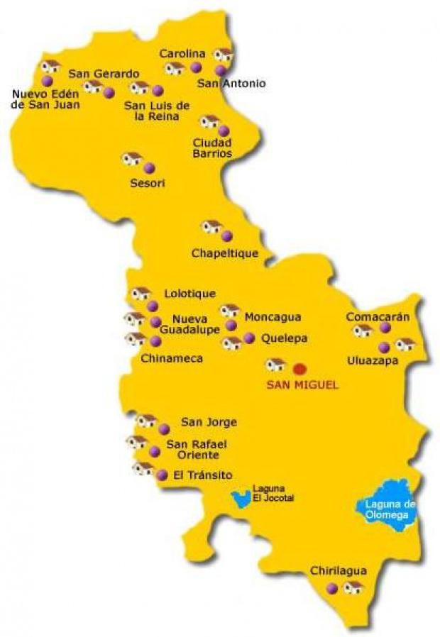 Mapa Departamento San Miguel, El Salvador