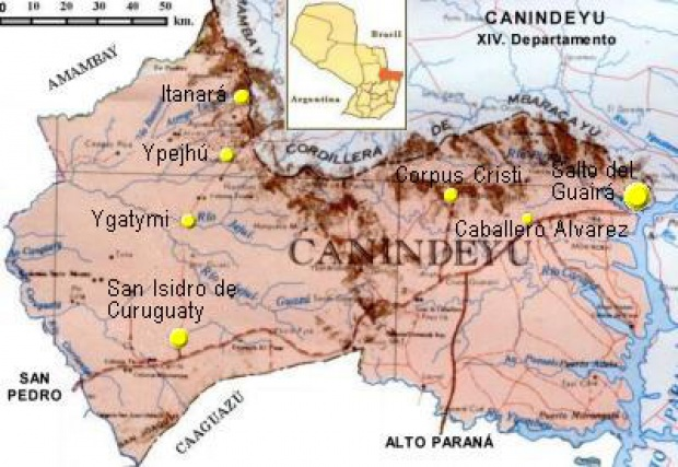 Mapa Departamento de Canindeyú, Paraguay