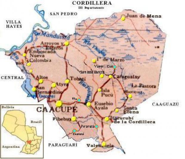 Mapa Departamento de Cordillera, Paraguay